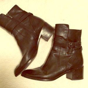 Via Spiga black zip up ankle boots